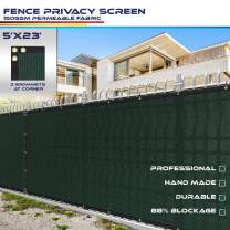 Windscreen4less Heavy Duty Privacy Screen Fence in Color Solid Green 5' x 23' Brass Grommets w/3-Year Warranty 150 GSM (Customized Size)