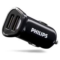 Philips 12W USB Car Charger, 2 Ports, For iPhone XS/XR/X/8, iPad Pro/Air/Mini, Samsung Galaxy S10/S9/Plus, Google Pixel C/3/2/XL and More, DLP2457/37