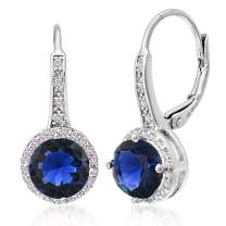 MIA SARINE Cubic Zirconia Halo Leverback Dangle Bridal Gift Earrings for Women for in Sterling Silver (Various Colors)