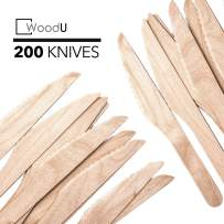 WoodU Disposable Wooden Knives Natural Birch Wood Biodegradable Knife Utensils Cutlery Eco-Friendly Green (200)