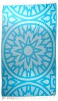 Bersuse 100% Organic Cotton Flamenco Turkish Towel - 37X70 Inches, Aqua, 1 Piece