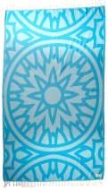 Bersuse 100% Organic Cotton Flamenco Turkish Towel - 37X70 Inches, Aqua, 1 Piece