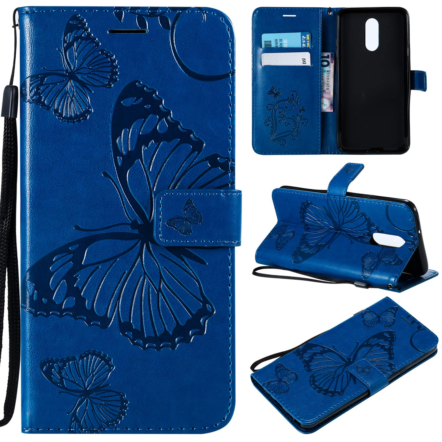 Cmeka Emboss Butterfly Wallet Case for LG Stylo 4,Wrist Strap,Flip PU Leather Magnetic Closure,Card Slots,Kickstand Function (Blue)