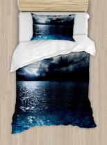 Ambesonne Night Sky Duvet Cover Set, Full Moon and Foggy Clouds with Turquoise Glass Like Sea Ocean Print, Decorative 2 Piece Bedding Set with 1 Pillow Sham, Twin Size, Blue White