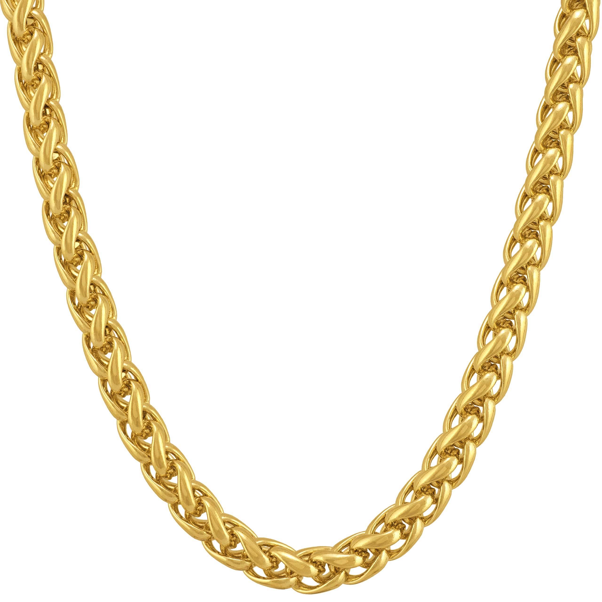 LIFETIME JEWELRY 5mm Weave Chain Necklace for Women and Men 24k Real Gold Plated with Free Lifetime Replacement Guarantee