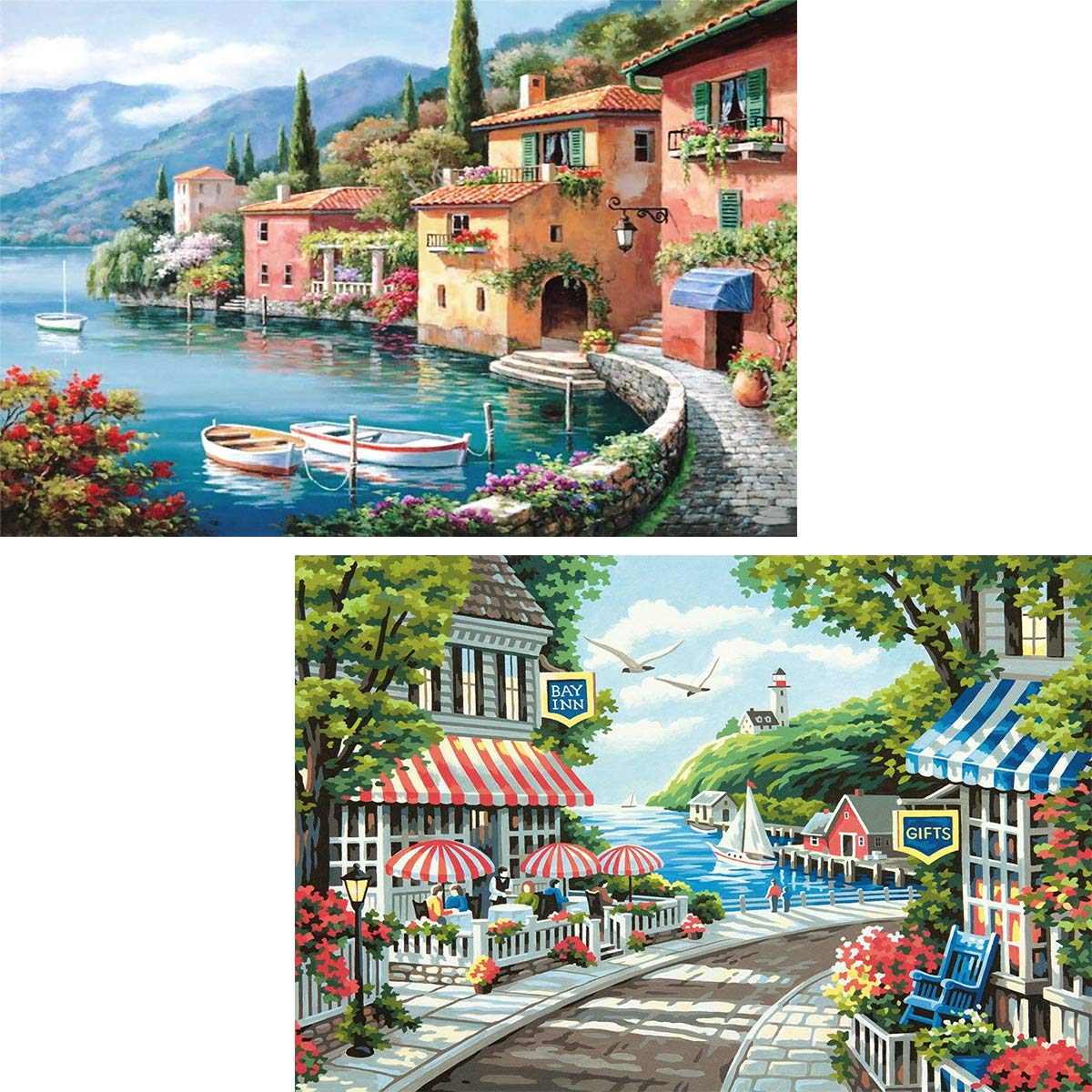 Ginfonr 5D DIY Diamond Painting Mediterranean Sea & European Landscape Full Drill by Number Kits, Scenery Paint with Diamonds Art Craft Embroidery Rhinestone Decor (12 x 16 inch)