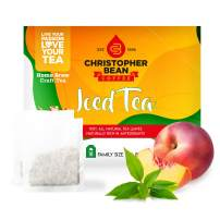 Peach Green Iced Tea Bags, Fruit-Flavored Bags of Clean and Crisp Tea Leaves, Made with Premium 100% Hand-Picked Teas, 18 Individual Pouches per Box, 1 Bag Makes Gallon-Sized Tea Blend – Christopher Bean Coffee