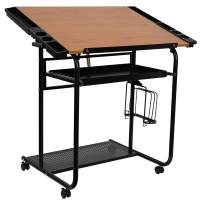 Flash Furniture Adjustable Drawing and Drafting Table with Black Frame and Dual Wheel Casters,