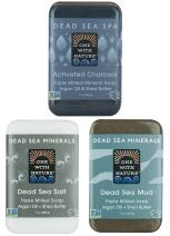 DEAD SEA Salt Mud Charcoal – Soap Variety Pack, Dead Sea Mud, Dead Sea Salt, Activated Charcoal. With Shea Butter, Argan Oil. All Skin type, Problem Skin. Acne Treatment, Eczema, Psoriasis, 3/7oz Bars