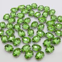 Green Rhinestones Oval Sew On Rhinestone 50pcs 10x14mm Flatback Rhinestones with Silver Prongs for Crafts Clothes Dresses Shoes Jewelry Making