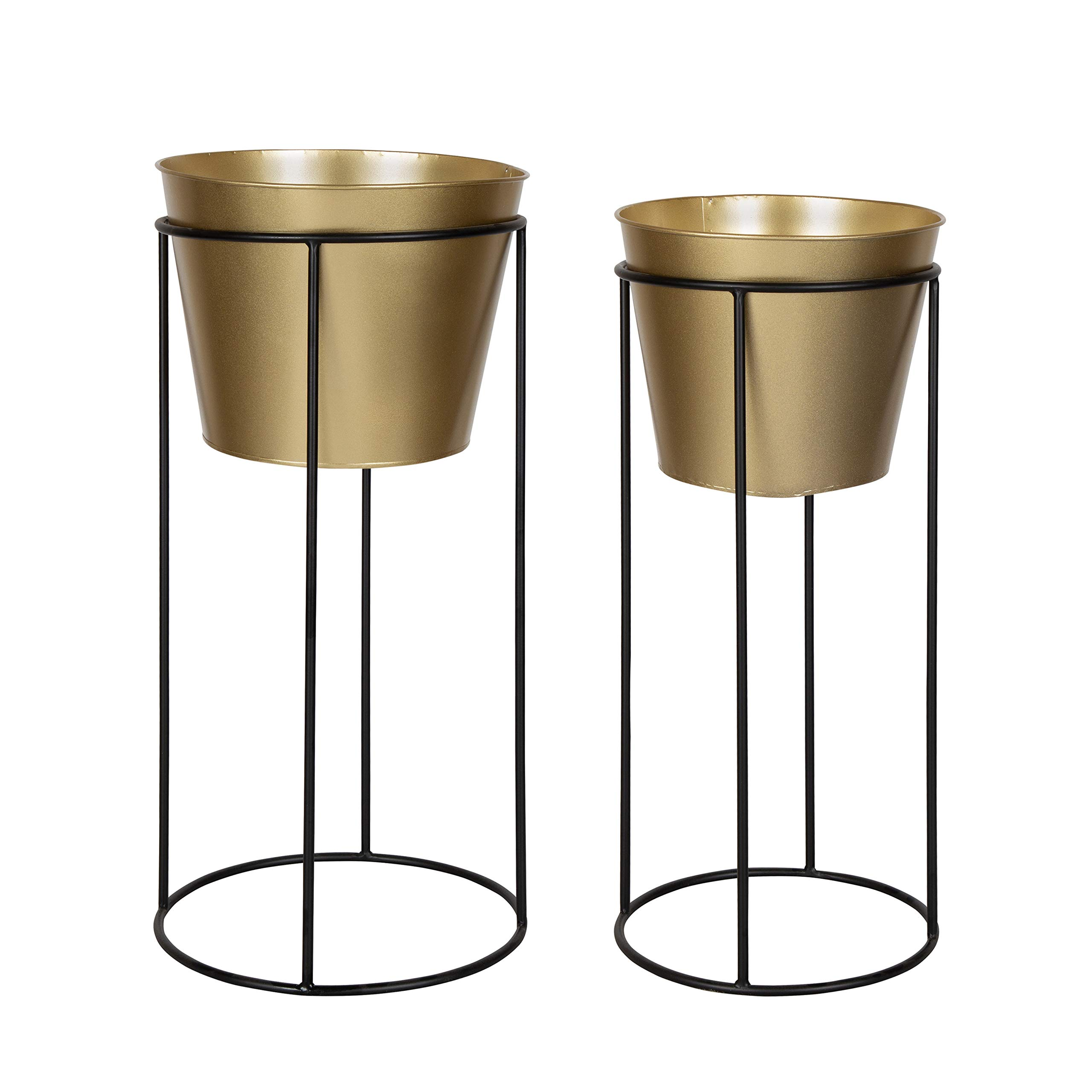 Kate and Laurel Sheely Decorative Modern Metal Planter Stands with Removeable Buckets Style Pots, Set of 2, Gold/Black