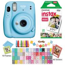 Fujifilm Instax Mini 11 Sky Blue Instant Camera with Twin Pack Instant Film, Ritz Gear Frame Stickers and Ritz Gear Hanging Frames