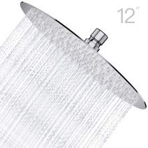 Derpras 12 inch Round Rain Shower Head, 304 Stainless Steel, Ultra Thin High Pressure Bathroom Rainfall Showerhead(Brushed Nickel) (168 Jets)