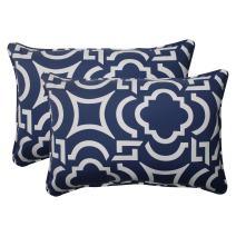 """Pillow Perfect Outdoor/Indoor Carmody Navy Oversized Lumbar Pillows, 24.5"""" x 16.5"""", Blue, 2 Pack"""