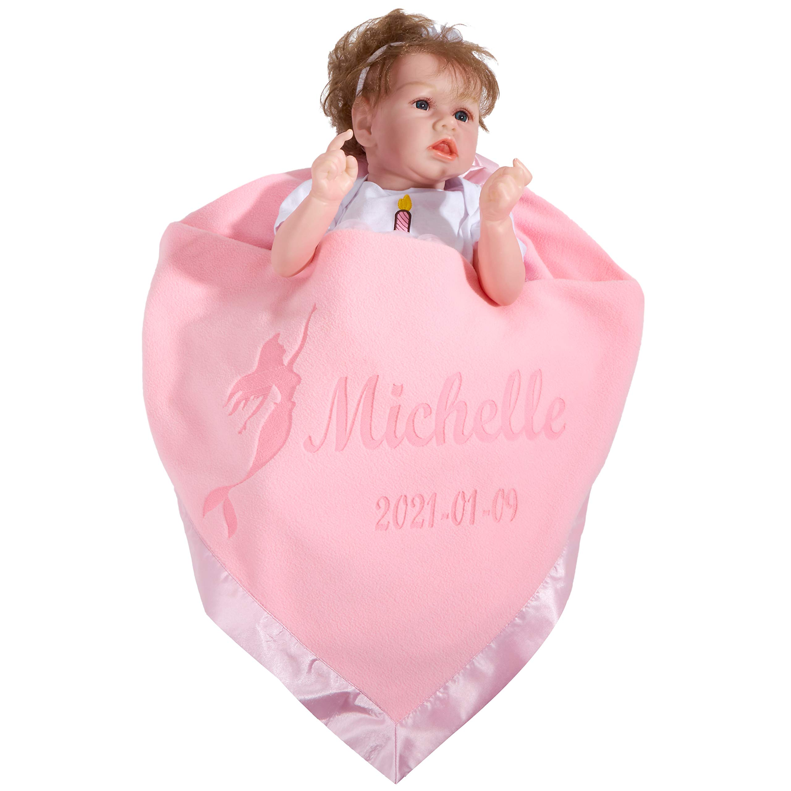 Custom Personalized Baby Blanket with Satin Trim Custom Newborn or Infant Name Gifts for Family, 39''x39'' (Pink)