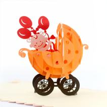 CUTEPOPUP Greeting Pop Up Cards with Unique Baby Stroller Orange Design, Sophisticated Details Come in Shining Envelope - The Perfect Handmade Baby Shower Gifts for Your Family, Friends and Colleages.