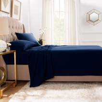"""Empyrean Bedding Premium Flat Sheets – 2-Pack """"110 GSM"""" Top Bed Sheets Double Brushed Microfiber Thick and Comfortable Flat Sheets Set, Luxurious & Soft Hotel Hypoallergenic, Queen, Navy Blue"""