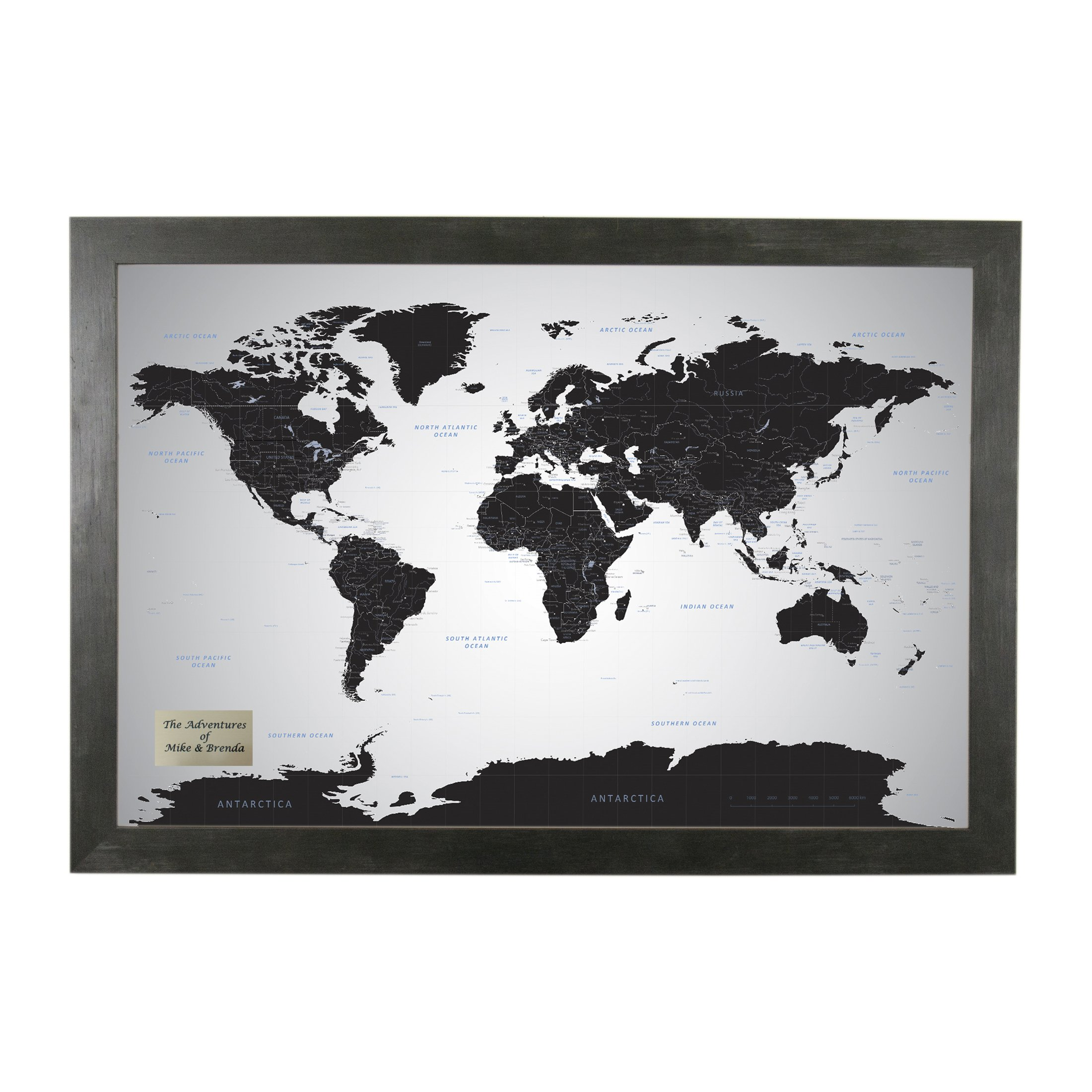 Push Pin Travel Maps Personalized Black Ice World with pins - 27.5 inches x 39.5 inches - Rustic Black Frame