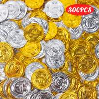 3 otters Pirate Toys Gold Coins, 300PCS Plastic Gold and Silver Coins Treasure for Pirate Party Halloween Party, All Saints' Day