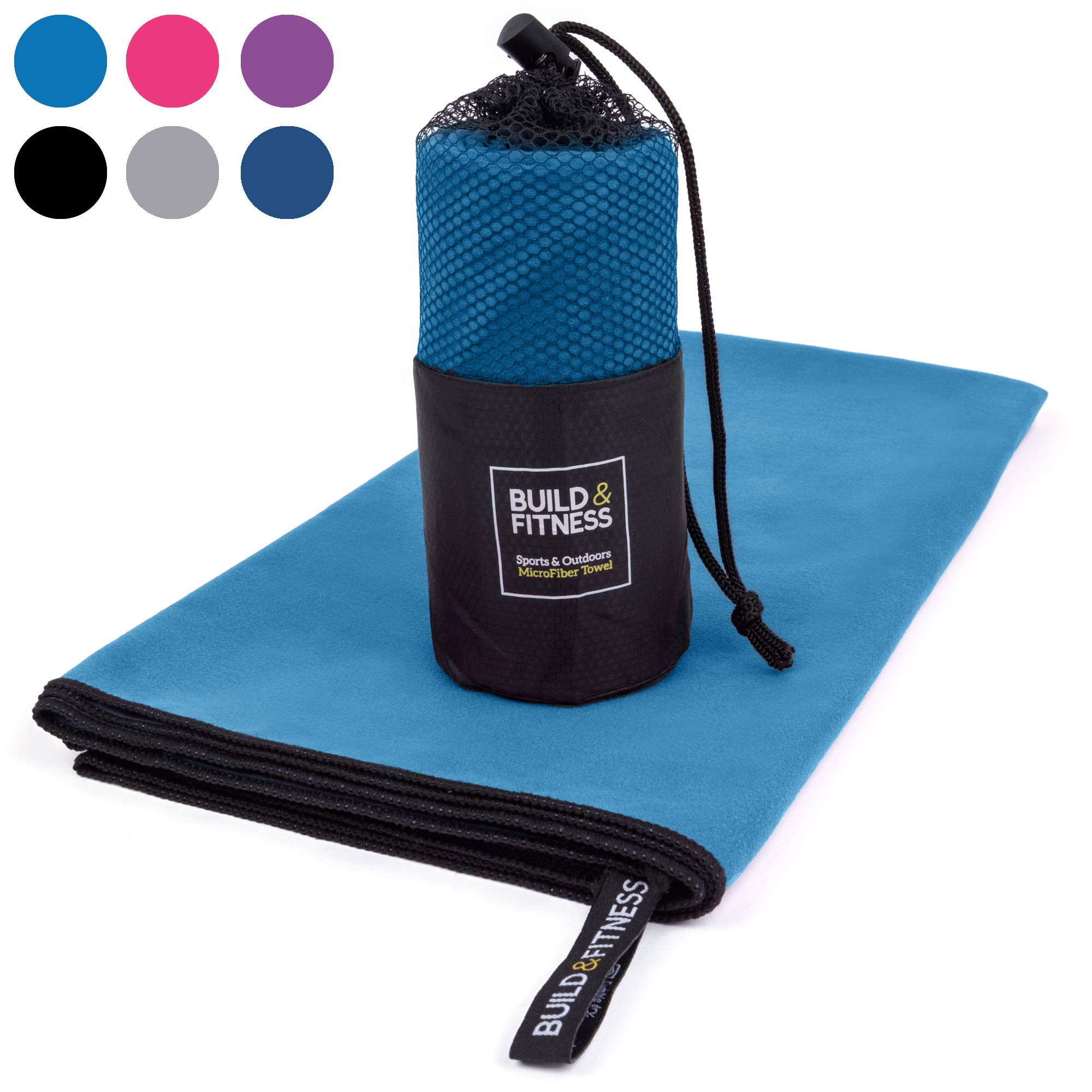 Lightweight Super Absorbent Sport Towel. Quick Drying, Compact. Best Towel for Gym, Swimming, Camping, Beach, Travel, Fitness, Yoga, Sports. Carry Bag