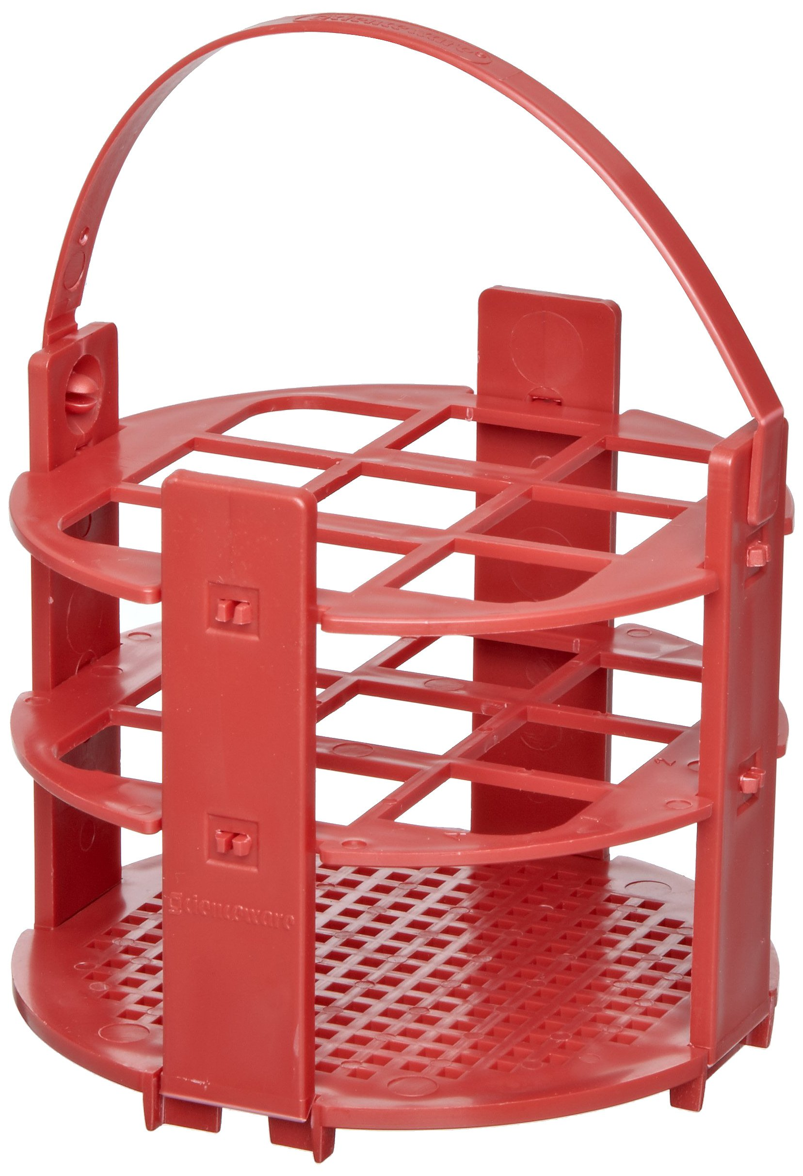 Bel-Art F18743-1020 No-Wire Round Test Tube Rack; 16-20mm, 9 Places, Red, Polypropylene
