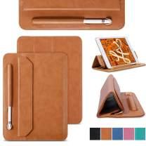 JISON21 iPad Mini 5 Sleeve Case Leather Soft Microfiber Slim Thin Tablet Sleeve Bag with Pencil Holder Folio Stand Case for Apple iPad Mini 4 3 2 1(Brown)
