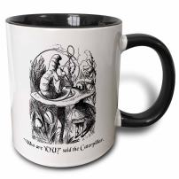 3dRose Who Are You-Smoking Caterpillar Quote From Alice In Wonderland Mug, 11 oz, Black