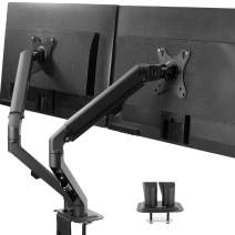 VIVO Articulating Dual 17 to 27 inch Screen Mechanical Spring Arm Mount, Clamp-on Desk Stand, Fits 2 Monitors with Max VESA 100x100, Black STAND-V200S