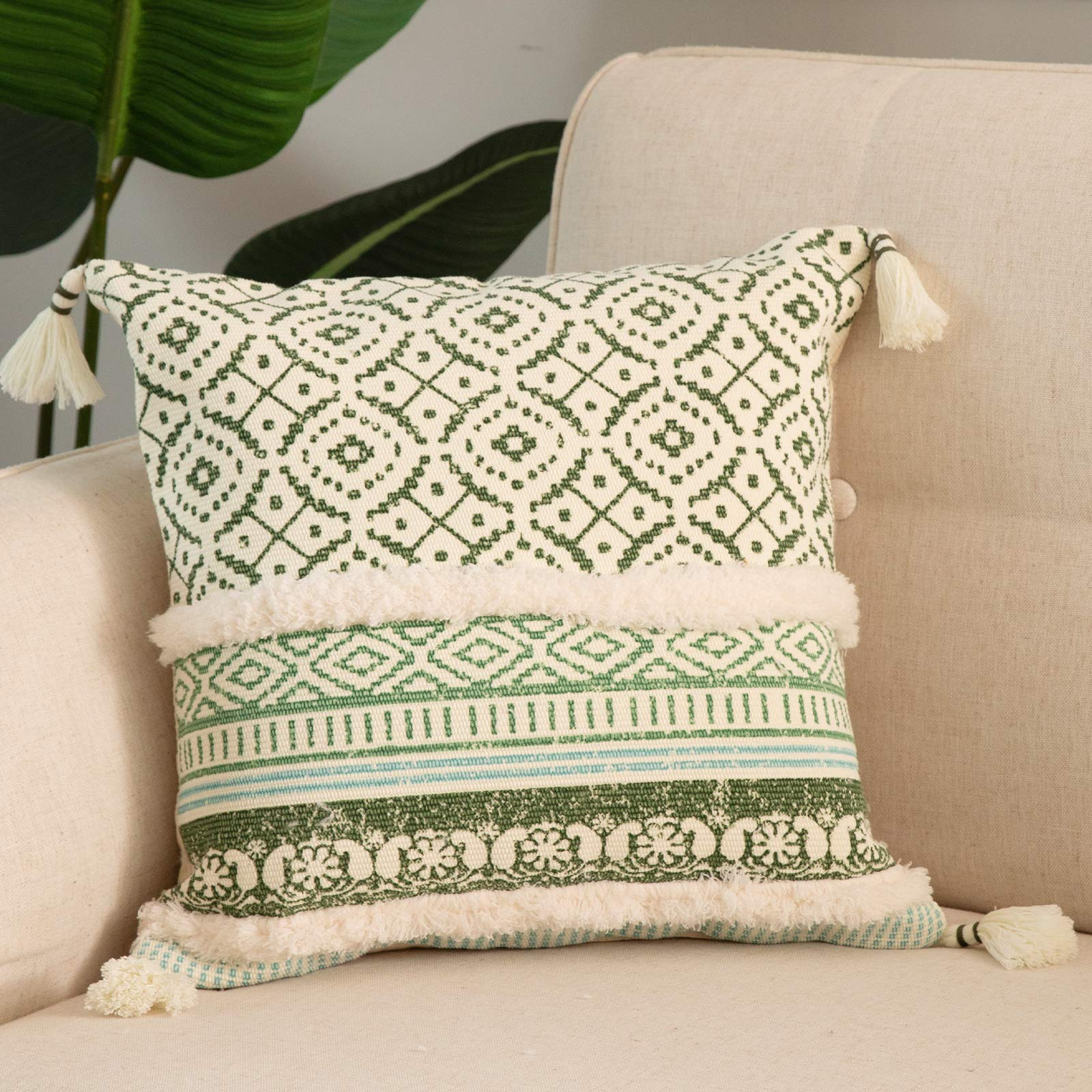 blue page Boho Tufted Decorative Throw Pillow Covers for Couch Sofa - Modern Moroccan Style Pillow Cases with Tassels, Accent Decor Pillowcase for Bedroom Car Hotel, 18x18 Inches, Green