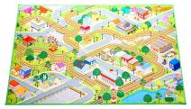 """MMP Living Kids Felt Play Mat - with Non-Slip, Grip Backing, Indoor/Outdoor, Machine Washable, 59"""" L x 39"""" W (City)"""