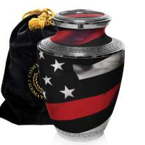 Red Line Firefighter and First Responder Cremation Urns for Human Ashes Adult for Funeral, Burial, Columbarium or Home, Cremation Urns for Human Ashes Adult 200 Cubic Inches, Urns for Ashes, Large