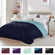 Seward Park Solid, Reversible Color Microfiber Comforter,Hypoallergenic Plush Microfiber Fill, Duvet Insert or Stand-Alone Comforter, Spring or Summer Comforter Lightweight, King, Navy/Blue