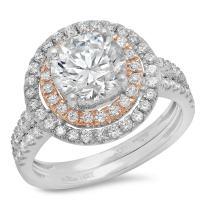 Clara Pucci 2.85 CT Round Cut Pave Halo Bridal Engagement Wedding Ring Band Set 14k White Rose Gold