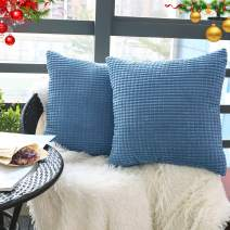 """Set of 2,Soft Square Accent Blue Throw Pillow Covers 18"""" x 18"""" (No Insert),Cozy Corduroy Corn Pattern Pillow Case Covers,Plush Velvet Cushion Covers with Hidden Zipper for Couch/Sofa/Bedroom"""