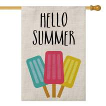 AVOIN Hello Summer Popsicles House Flag Vertical Double Sided Ice Cream Blue Red Yellow Pops, Seasonal Rustic Garden Yard Outdoor Decoration 28 x 40 Inch