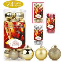 Aitsite 24 Pack Christmas Tree Ornaments Set 2.36 inches Mini Shatterproof Holiday Ornaments Balls for Christmas Decorations (Gold)