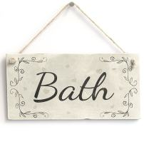 "Meijiafei Bath - Rustic Country Home Decor PVC Door Sign/Plaque Bathroom 10""x5"""