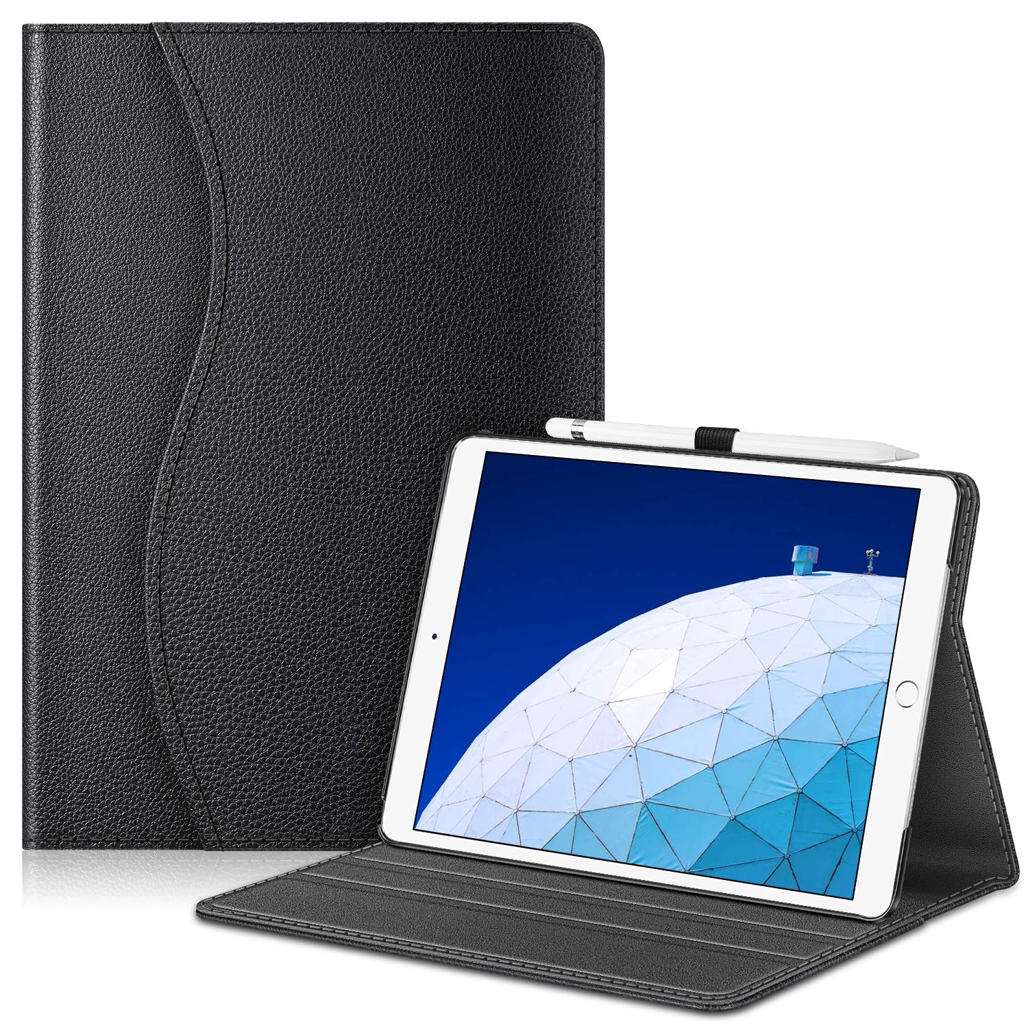 """Fintie Case for iPad Air (3rd Gen) 10.5"""" 2019 / iPad Pro 10.5"""" 2017- [Sleek Shield] Premium PU Leather Slim Fit Multi Angle Stand Cover with Pocket, Pencil Holder, Auto Wake/Sleep, Black"""