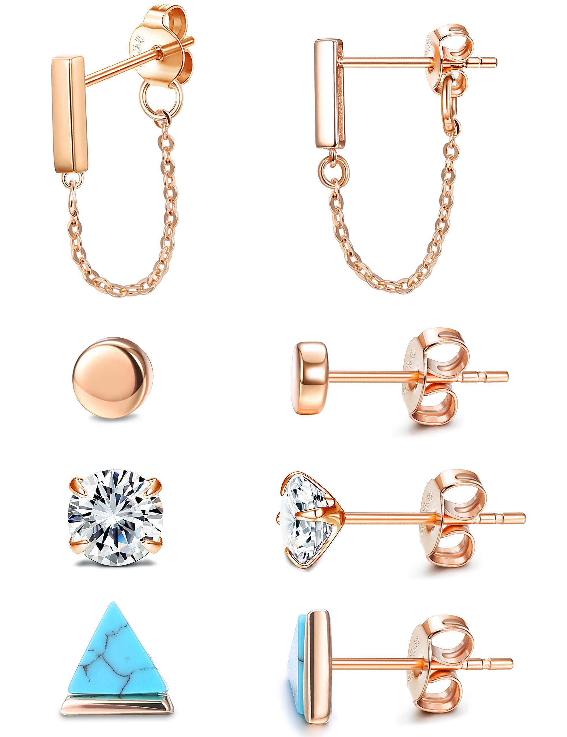 ORAZIO 4 Pairs Sterling Silver Stud Earrings for Women Men Minimalist Bar Chain Dangle Earring Small Cute CZ Flat Triangle Stud Earrings Set