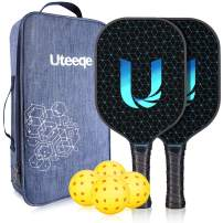 Pickleball Paddles - Uteeqe Graphite Pickleball Paddle Set Lightweight Texture Surface Polymer Honeycomb Core Pickleball Racket Cushion Comfort Contour Grip Low-Profile Edge Guard Pickleball Racquet