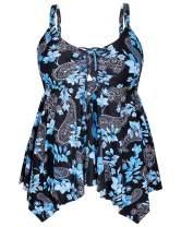 Yonique Womens Plus Size Swim Top Flowy Bathing Suits Front Tie Tankini Swimsuits Top Loose Swim Dress No Bottom