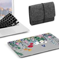 GMYLE MacBook Pro 15 Case 2018 2017 2016 Release A1990/A1707 with Touch Bar, Plastic Hard Shell & Keyboard Cover & Felt Pouch Storage Bag Compatible Newest Mac Pro 15 Inch, Springtime Floral Garden