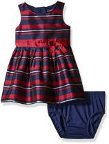 Nautica Baby Girls' Stripe Taffeta Dress With Grosgrain Sash