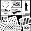 Whaline American Flag Stencil Patriotic Series Template Statue of Liberty, 50 Stars, American Flag for Painting on Wood, Fabric, Paper, Airbrush, Walls Art (12 Pack)