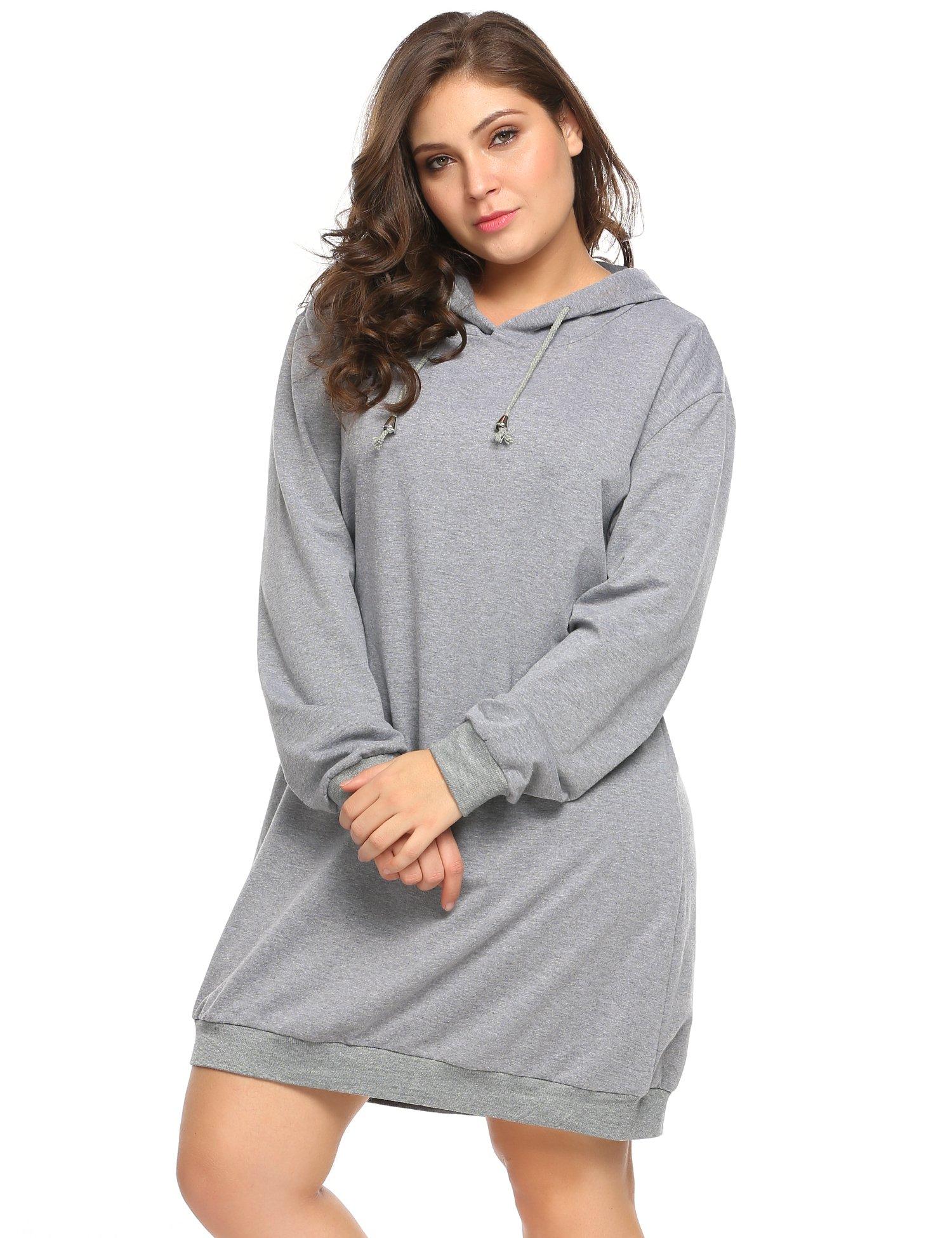 IN'VOLAND Women's Plus Size Long Sleeve Hooded Pullover Sweatshirt Hoodie Dress (16W-24W)