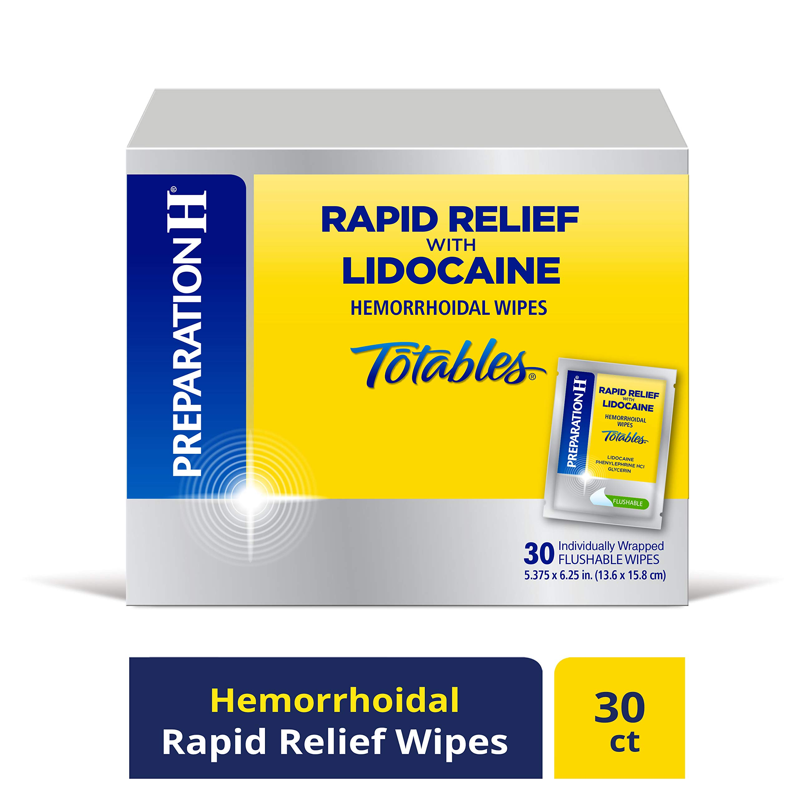 PREPARATION H Rapid Relief with Lidocaine Hemorrhoid Symptom Treatment Flushable Wipes, Numbing Relief for Pain, Burning & Itching, Reduces Swelling, 30 Count Box