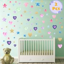 Star Heart Wall Decals 2 Pcs Kids Party Multi-Color Removable Stickers Decor for Bedroom, Door, Refrigerator, Window, Wardrobe, Glass, Table Etc. (Heart+Star)