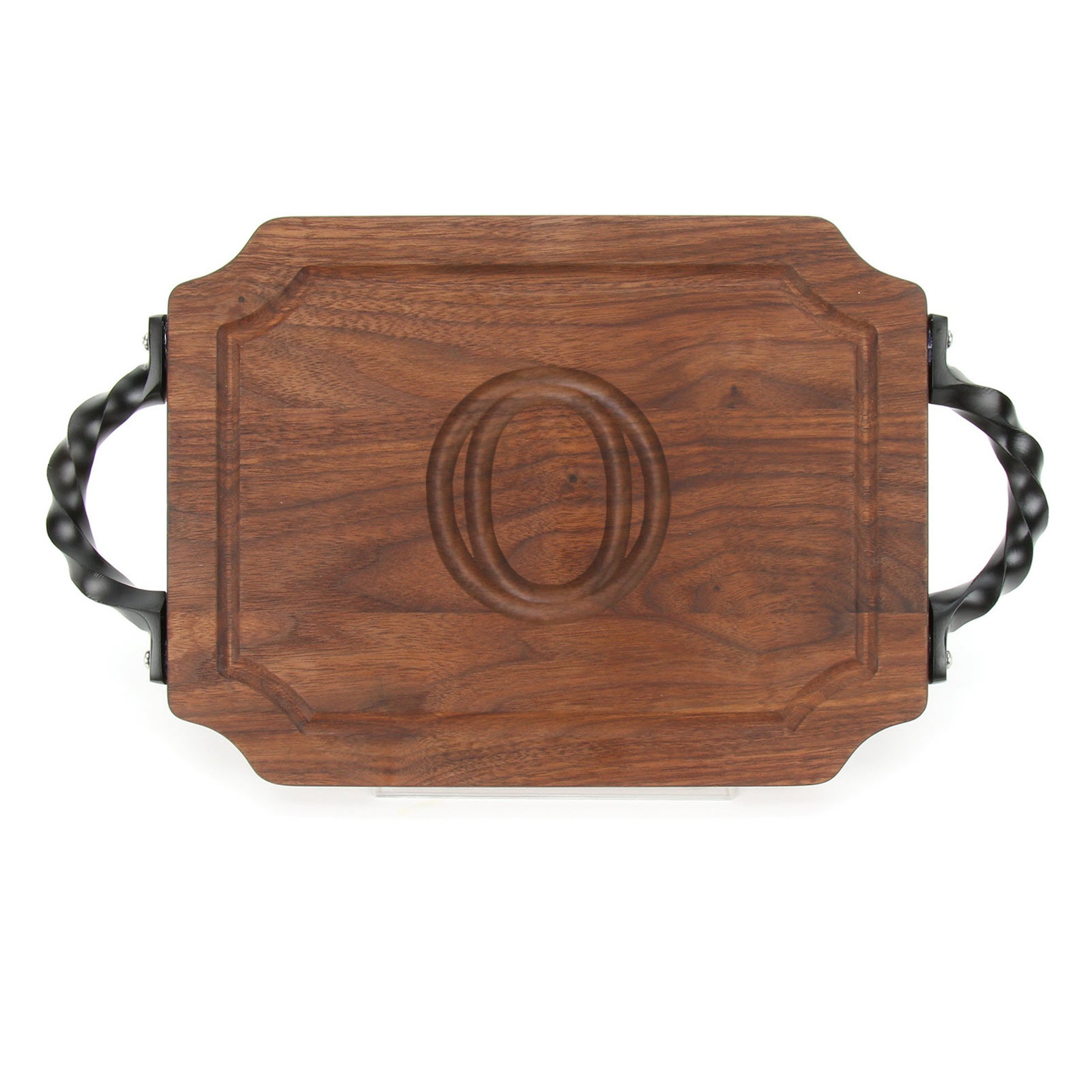 """BigWood Boards W300-STWS-O Bar/Cheese Board with Twisted Square End Handle with Scalloped Corners, 9-Inch by 12-Inch by 0.75-Inch, Monogrammed""""O"""", Walnut"""