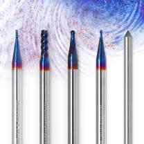 Genmitsu CNC 4pcs Nano Blue Coat End Mill with Diamond Dresser for Texture Design, 2/4 Flutes, 1-3mm Cut Dia, 4mm Shank