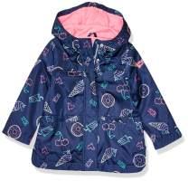 Osh Kosh Girls' Toddler Perfect Rainjacket Rainslicker Raincoat, Rainbows on Island Pink, 4T
